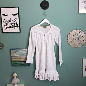 Scully White Button Up Embroidered Dress S G2